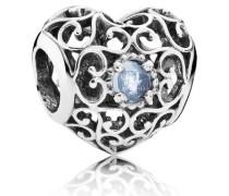Charm  März-Herz  Silber Blau Kristall 791784NAB
