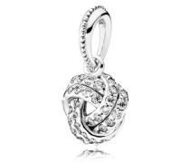 Funkelnder Liebesknoten Kettenanhänger Silber Cubic Zirconia 390385CZ
