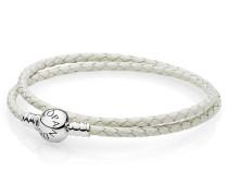 Armband Armband elfenbeinfarbenes Leder zweifach gewickelt Weiß 590745CIW-D1