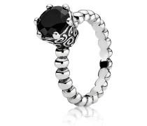 Kombinierbarer Ring Metallperlen-Ring mit schwarzem Spinell Schwarz 190851ME-50