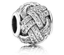 Charm  Funkelnder Liebesknoten  Silber Cubic Zirconia 791537CZ