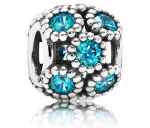 Charm  Glitzernde Kreise   Silber Blau Cubic Zirconia 791296MCZ