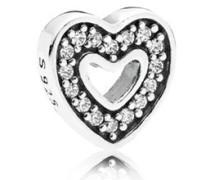 Damen Medaillon-Elemet für Medaillon-Halskette Herz Silber onesize 792163CZ