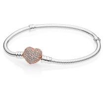 Damenarmband Pavé Herz Herzverschluss rosegold 16 cm 586292CZ-16