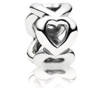 Damen Charm Zwischenelemente Offene Herzen Silber onesize 790454