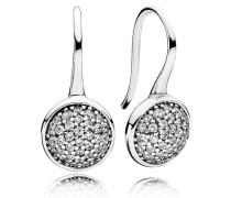 Glänzende Tröpfchen Ohrringe Silber Cubic Zirconia 290734CZ