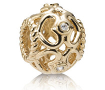Charm  Offenes Glitzerherz   Gold Diamant 750466D