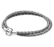 Armband   graues Leder zweifach gewickelt Silber Grau 590705CSG-D1
