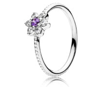 Damen Ring Vergissmeinnicht Lila Silber 48 190990ACZ-48