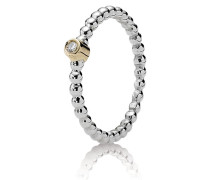 Evening Star Silver ring 14k 0.03ct TW h/vs diamond Bicolor 190214D-52