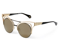 Cutout Cat-Eye Sunglasses Gold/Black VW936S02