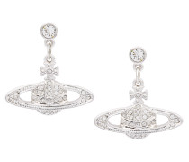 Mini Bas Relief Drop Earrings Silver/Crystal