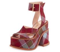 Red/ Blue Tartan Clomper Slave Shoe UK 3 EU36