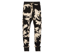 Skinny Sweatpants Black Print Leaves