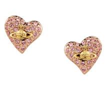 Tiny Diamante Heart Stud Earrings Gold