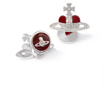 Diamante Red Heart Cufflinks in Pewter