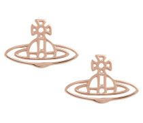 Thin Lines Flat Orb Stud Earrings Pink Gold