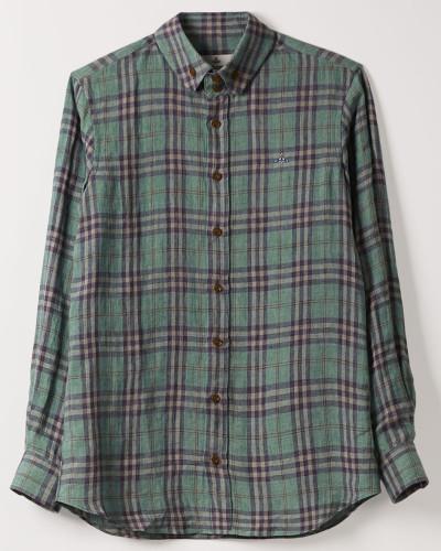 Two Button Krall Shirt Emerald Check