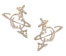 Unisex Orb Earrings Oxidised Gold