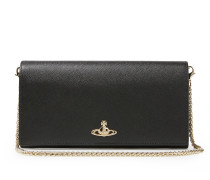 Opio Saffiano Long Wallet With Chain 321403 Black