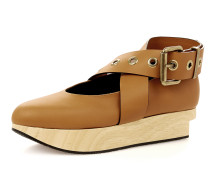 Buckle Ballerina Platforms Caramel Tan