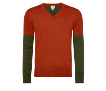 Green/Orange Classic V Neck Jumper
