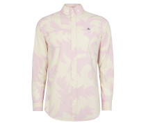 Two Button Krall Shirt Pink Leaves
