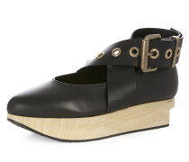 Buckle Ballerina Platforms Black