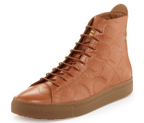 High Top Trainers Caramel /Squiggle Print