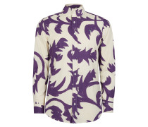 Two Button Krall Shirt Purple Leaves