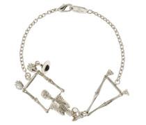Skeleton Bracelet In Black Enamel