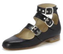 Black Roman Shoes with Three Straps