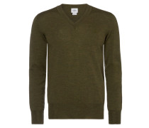 Green Classic V Neck Jumper