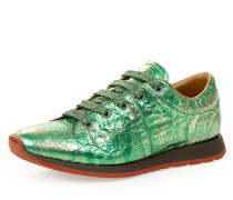 Women's Monkey Low Top Trainers Green Tin Foil UK 7
