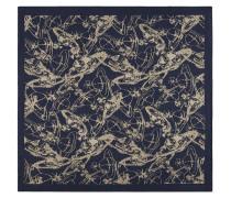 Sketch Orb Jacquard Pocket Square Blue