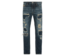 Anglomania Classic Tapered Jeans Distressed Blue Denim