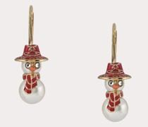 Snowman Earrings Gold-Tone