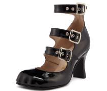 Animal Toe 3 Strap Black Patent