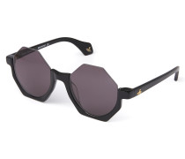 Black Half Frame Hexagon Sunglasses VW941S1BLG