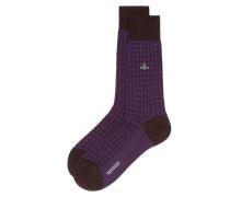 Textured Socks Dark Brown Mix/Blackberry