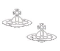 Thin Lines Flat Orb Silver Stud Earrings