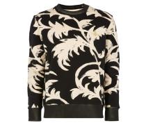 Classic Round Neck Sweater Black Print Leaves