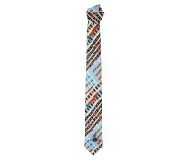 Tartan Print Tie Light Blue/White One