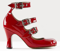 ANIMAL TOE THREE-STRAP SHOES RED PATENT