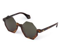Tortoiseshell Half Frame Hexagon Sunglasses 941S3BRG