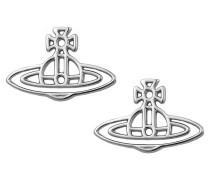 Vivienne Westwood Thin Lines Flat Orb Silver Stud Earrings