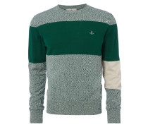 Roundneck Colour Block Jumper Green/Grey