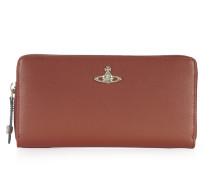 Opio Saffiano Zip Round Wallet 321523 Orange H 10cm