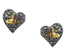 Tiny Diamante Heart Stud Earrings Gunmental/Black