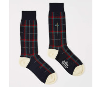 Tartan Check Socks With Tipping Navy
